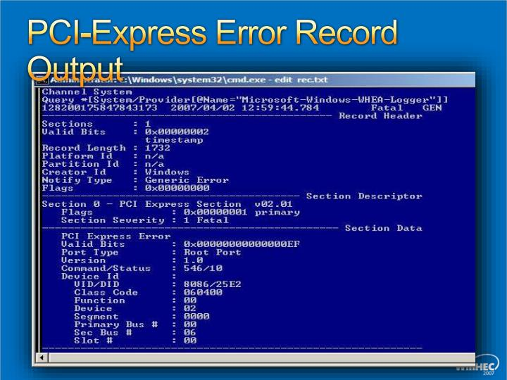 PCI-Express Error Record Output
