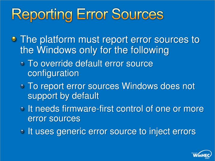Reporting Error Sources