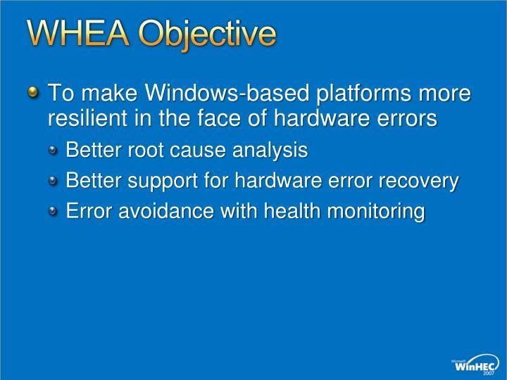 WHEA Objective