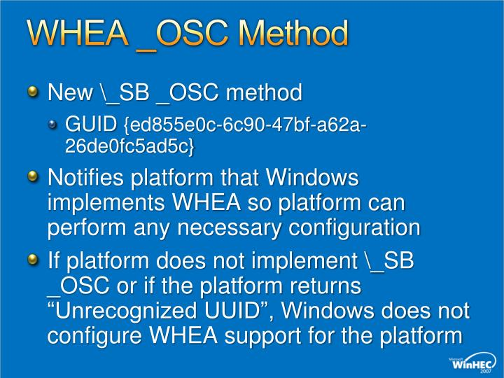 WHEA _OSC Method
