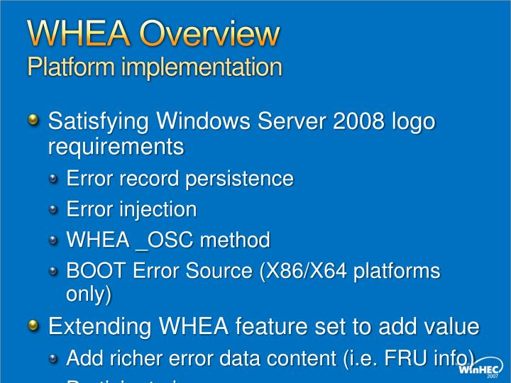WHEA Overview