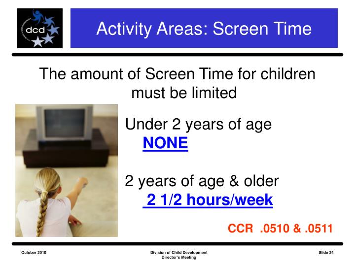 Activity Areas: Screen Time