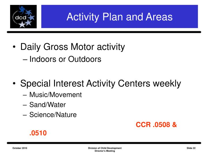 Activity Plan and Areas