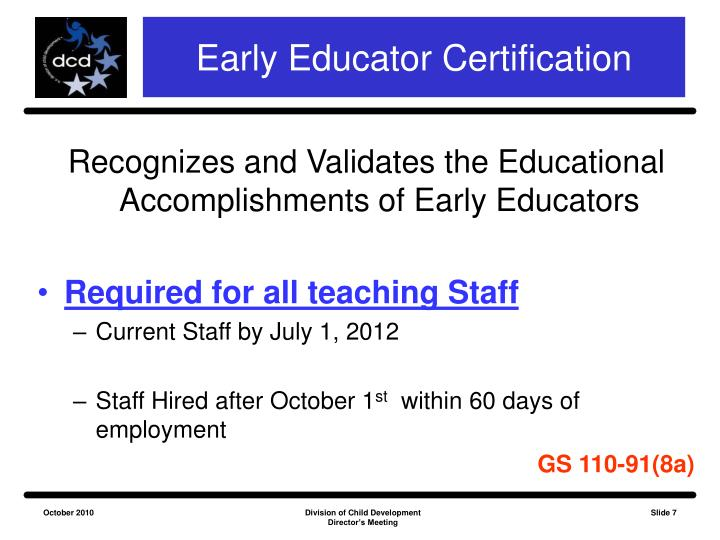 Early Educator Certification