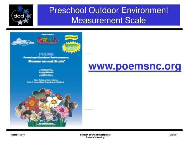 Preschool Outdoor Environment Measurement Scale