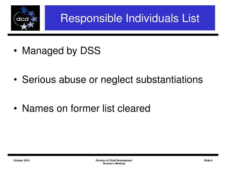 Responsible Individuals List