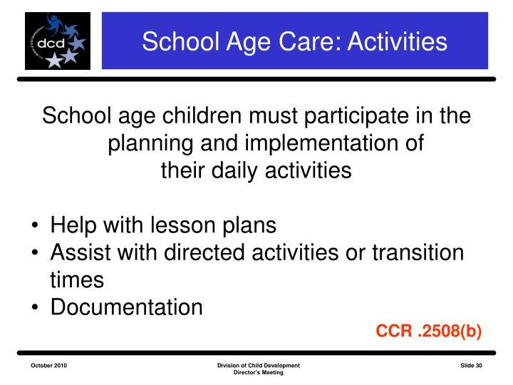 School Age Care: Activities