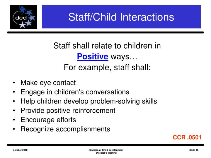 Staff/Child Interactions