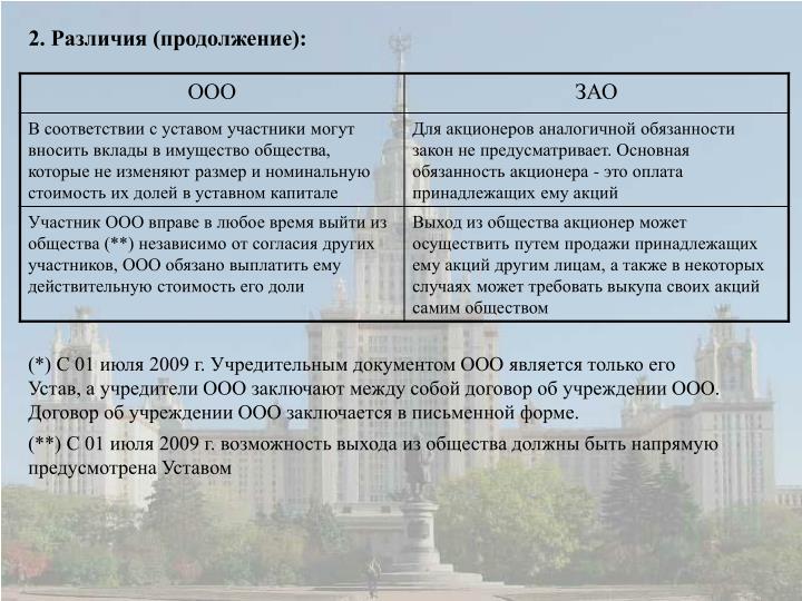 2. Различия (продолжение):