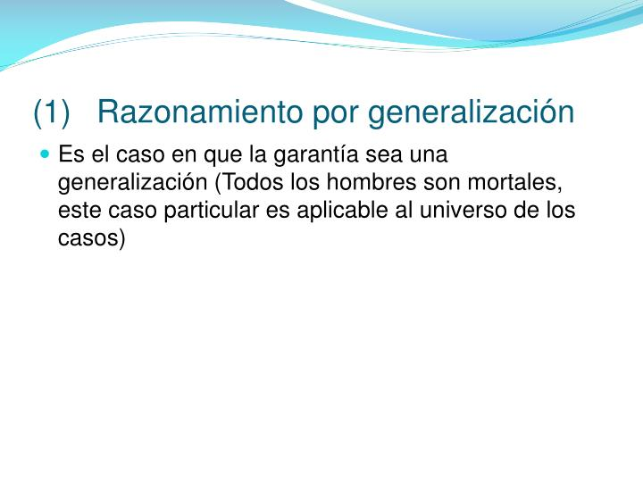 (1)Razonamiento por generalización