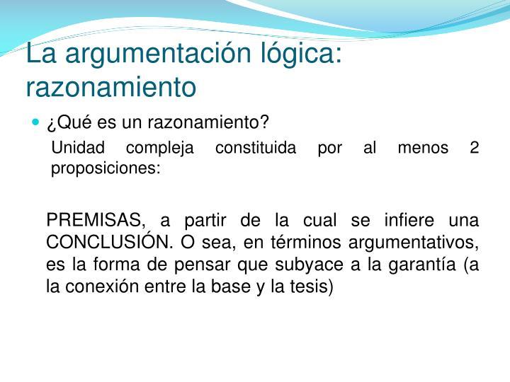 La argumentación lógica: razonamiento