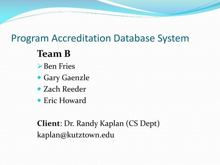 Program Accreditation Database System