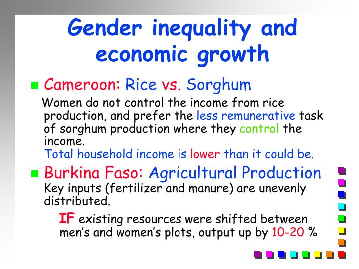 Gender inequality and economic growth