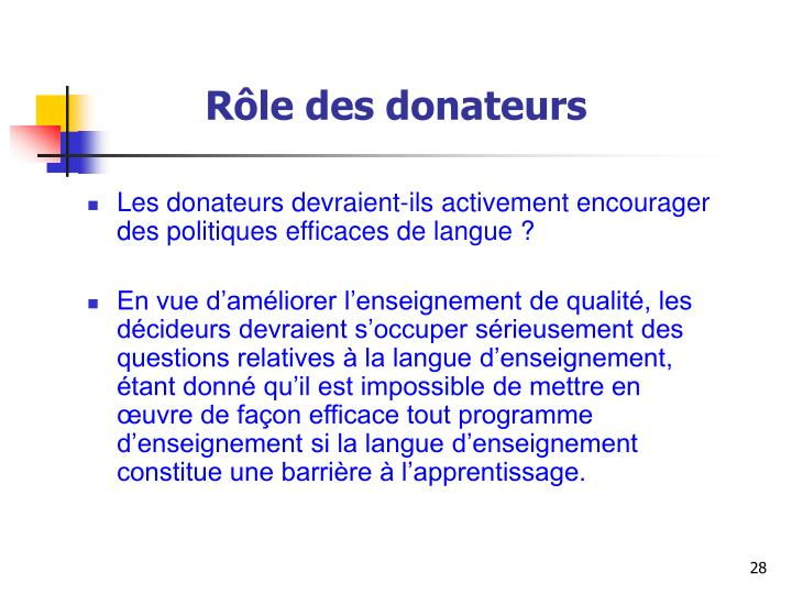 Rôle des donateurs