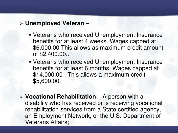 Unemployed Veteran –