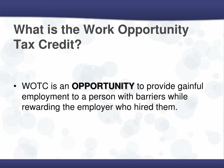What is the work opportunity tax credit