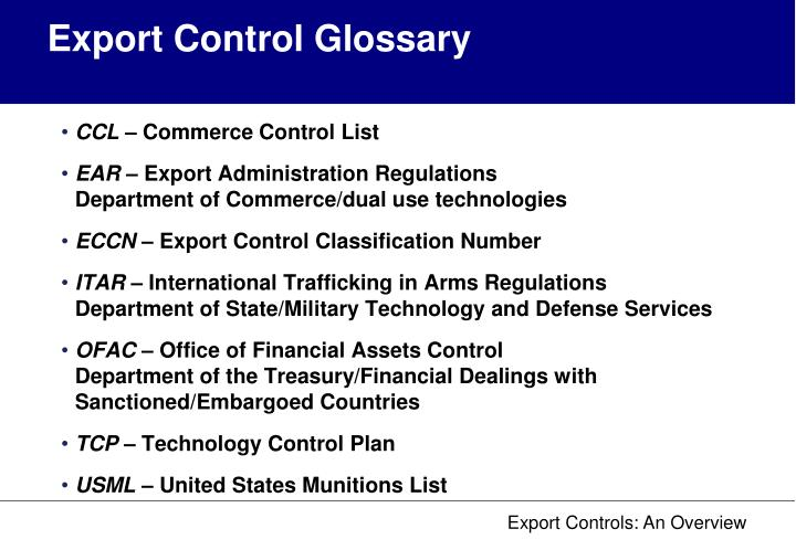Export Control Glossary