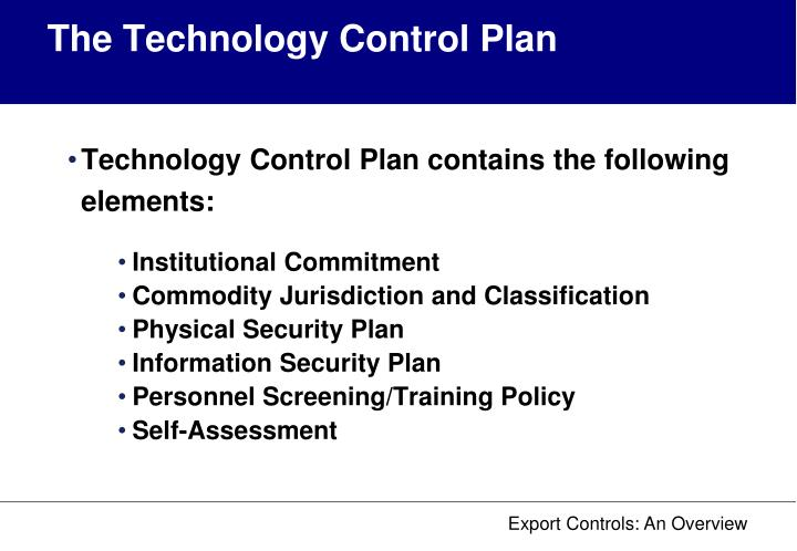 The Technology Control Plan
