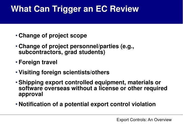 What Can Trigger an EC Review