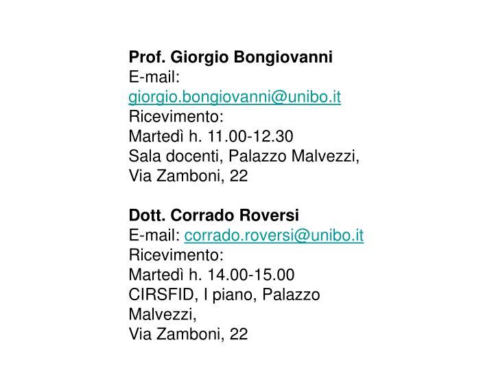 Prof. Giorgio Bongiovanni