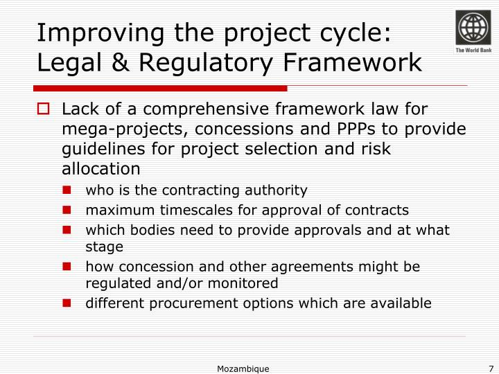 Improving the project cycle: Legal & Regulatory Framework