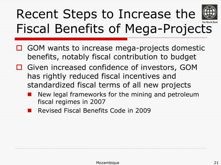 Recent Steps to Increase the Fiscal Benefits of Mega-Projects