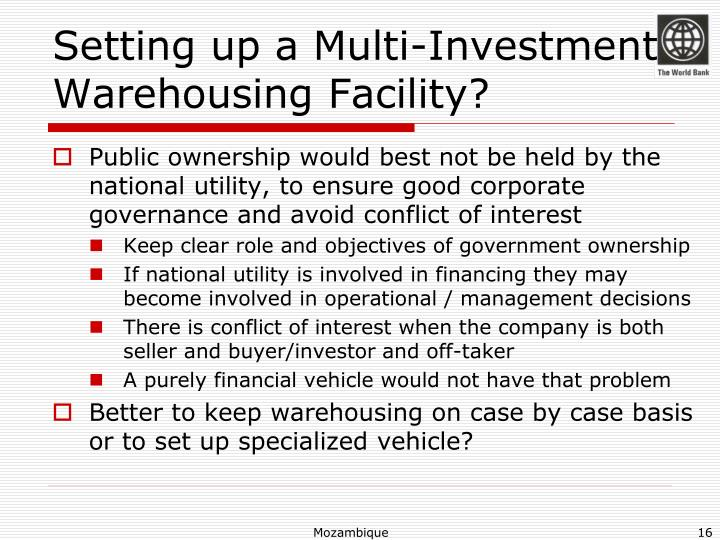 Setting up a Multi-Investment Warehousing Facility?