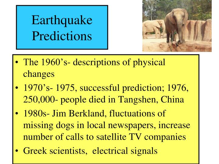 Earthquake predictions