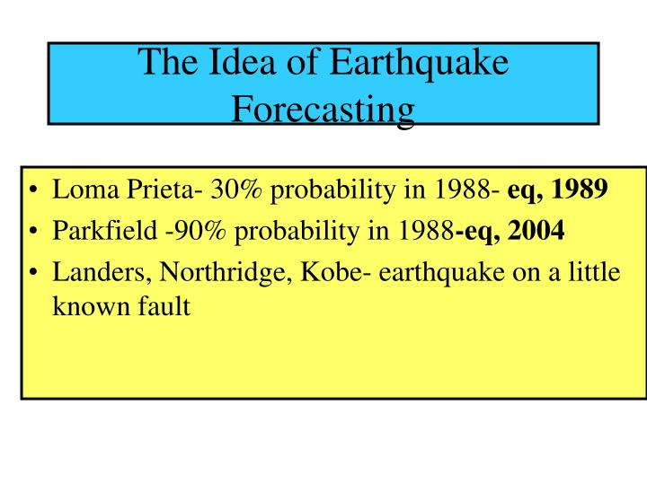 The Idea of Earthquake Forecasting