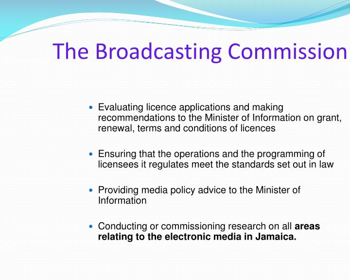 broadcast commission The broadcasting commission has indicated that it has received a number of complaints about media-related concerns, including about advertisements of people offering astrological and palm-reading services executive director of the broadcasting commission, cordel green, said the main concern was .