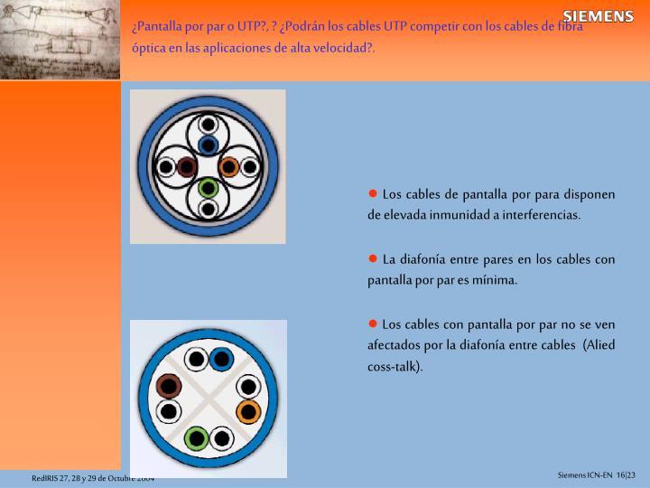 ¿Pantalla por par o UTP?, ? ¿Podrán los cables UTP competir con los cables de fibra óptica en las aplicaciones de alta velocidad?.
