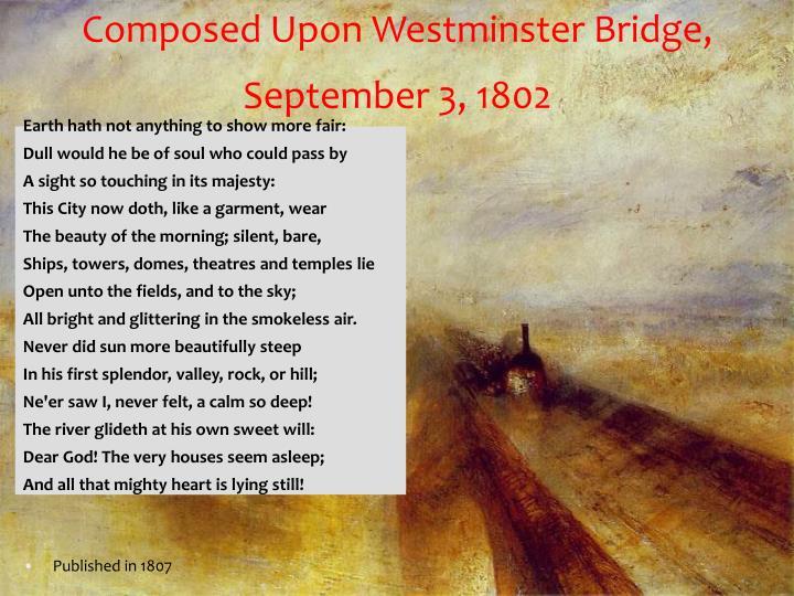 Composed Upon Westminster Bridge, September 3, 1802