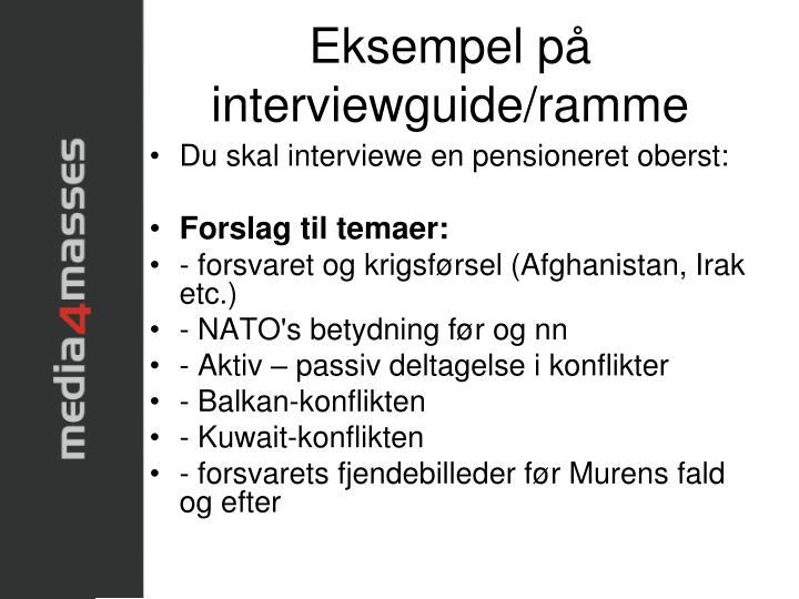 Eksempel på interviewguide/ramme