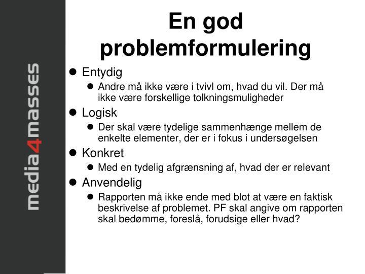 En god problemformulering