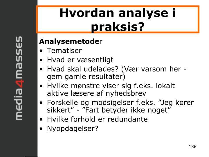 Hvordan analyse i praksis?