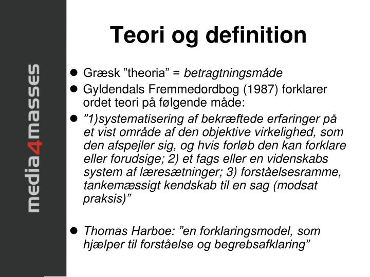 Teori og definition