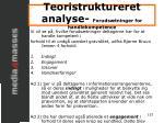 teoristruktureret analyse foruds tninger for handlekompetence