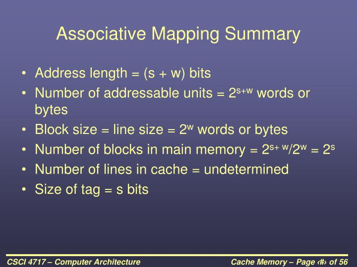 Associative Mapping Summary
