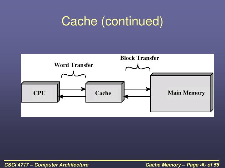 Cache (continued)