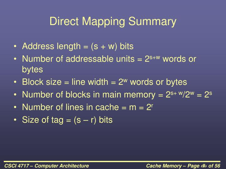 Direct Mapping Summary