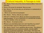 cultural inequality a passage to india