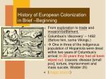 history of european colonization in brief beginning