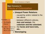 major concerns 1 effects of colonization