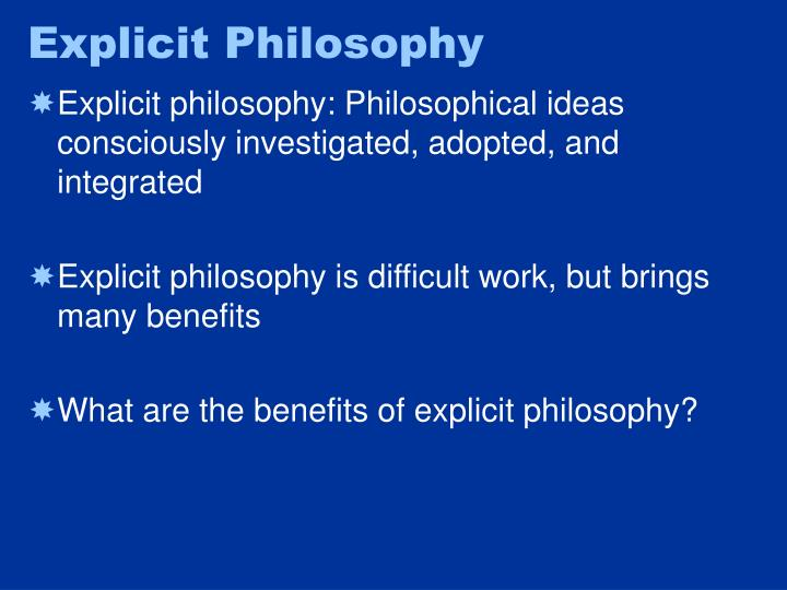 Explicit Philosophy