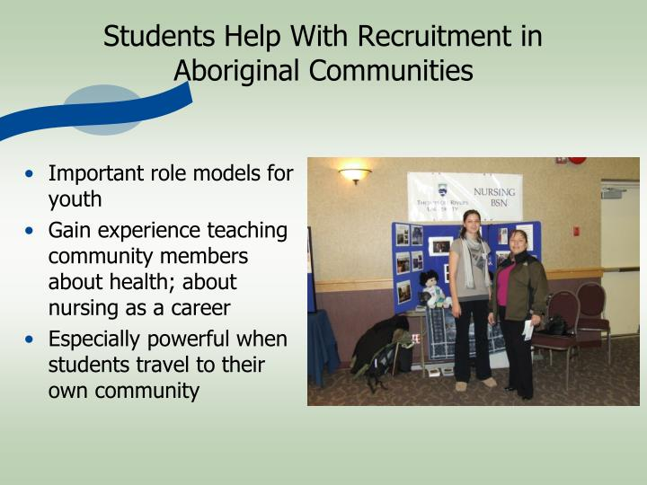 Students Help With Recruitment in Aboriginal Communities