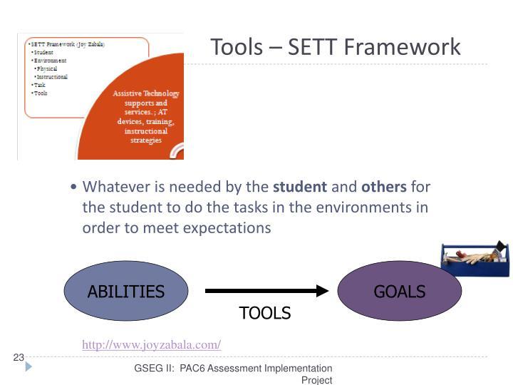 Tools – SETT Framework