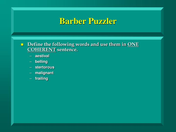 Barber puzzler