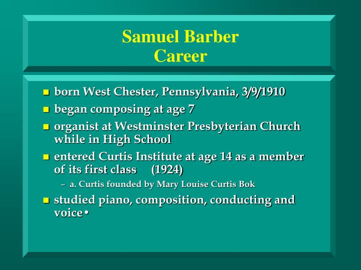 Samuel barber career