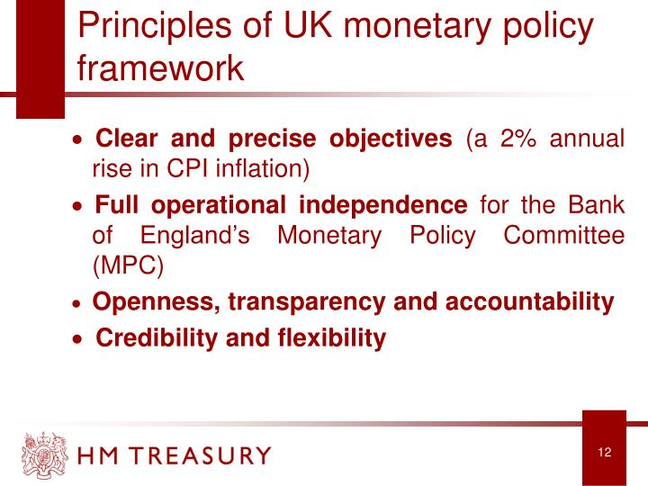 Principles of UK monetary policy framework