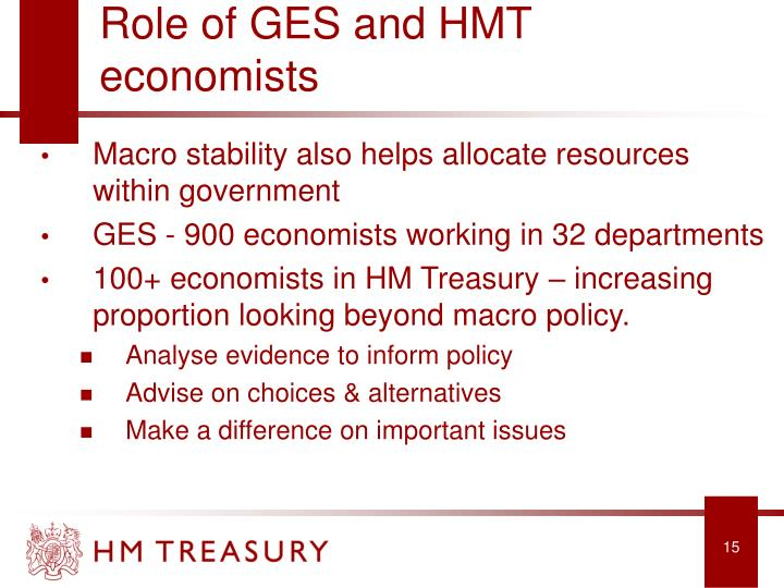 Role of GES and HMT economists